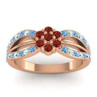 Simple Floral Pave Kalikda Garnet Ring with Aquamarine and Swiss Blue Topaz in 14K Rose Gold