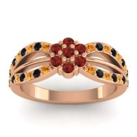 Simple Floral Pave Kalikda Garnet Ring with Black Onyx and Citrine in 18K Rose Gold