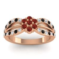 Simple Floral Pave Kalikda Garnet Ring with Black Onyx and Diamond in 18K Rose Gold