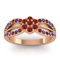 Simple Floral Pave Kalikda Garnet Ring with Blue Sapphire in 18K Rose Gold
