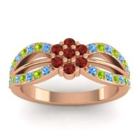 Simple Floral Pave Kalikda Garnet Ring with Peridot and Swiss Blue Topaz in 18K Rose Gold