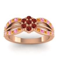 Simple Floral Pave Kalikda Garnet Ring with Pink Tourmaline and Citrine in 18K Rose Gold