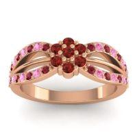 Simple Floral Pave Kalikda Garnet Ring with Pink Tourmaline and Ruby in 14K Rose Gold