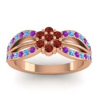 Simple Floral Pave Kalikda Garnet Ring with Swiss Blue Topaz and Amethyst in 14K Rose Gold