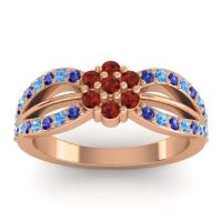 Simple Floral Pave Kalikda Garnet Ring with Swiss Blue Topaz and Blue Sapphire in 18K Rose Gold