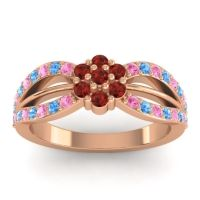 Simple Floral Pave Kalikda Garnet Ring with Swiss Blue Topaz and Pink Tourmaline in 18K Rose Gold