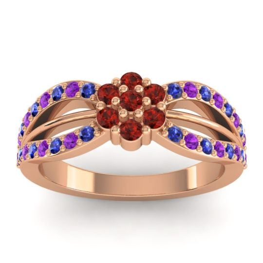 Simple Floral Pave Kalikda Garnet Ring with Amethyst and Blue Sapphire in 14K Rose Gold