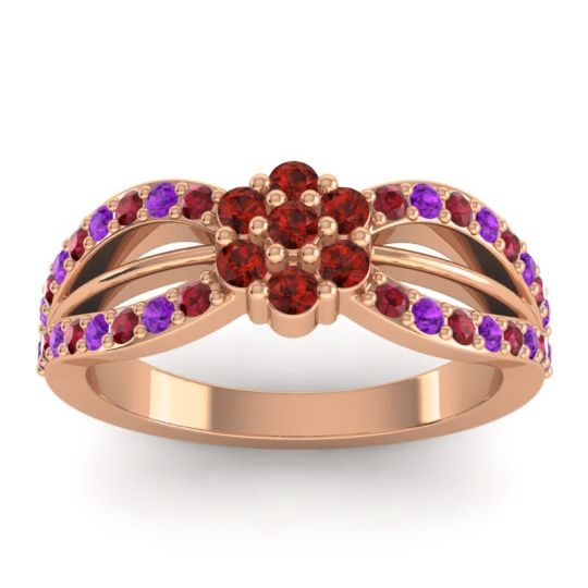 Simple Floral Pave Kalikda Garnet Ring with Amethyst and Ruby in 14K Rose Gold