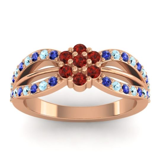 Simple Floral Pave Kalikda Garnet Ring with Aquamarine and Blue Sapphire in 18K Rose Gold