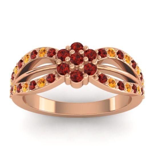 Simple Floral Pave Kalikda Garnet Ring with Citrine in 18K Rose Gold