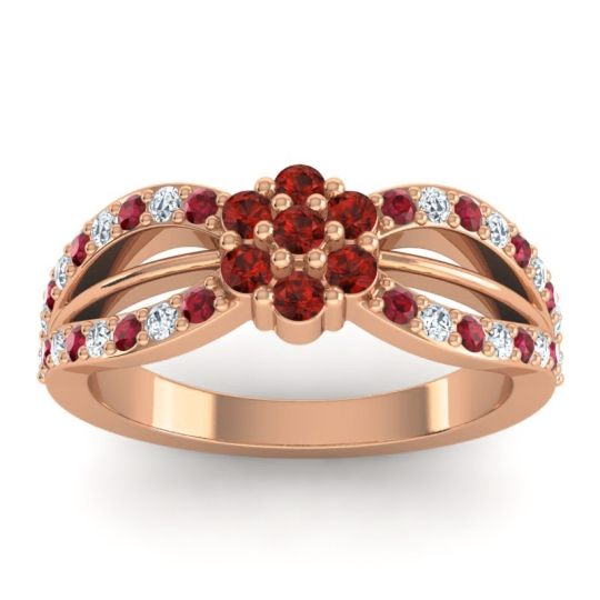 Simple Floral Pave Kalikda Garnet Ring with Diamond and Ruby in 18K Rose Gold