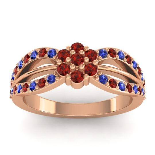 Simple Floral Pave Kalikda Garnet Ring with Blue Sapphire in 14K Rose Gold