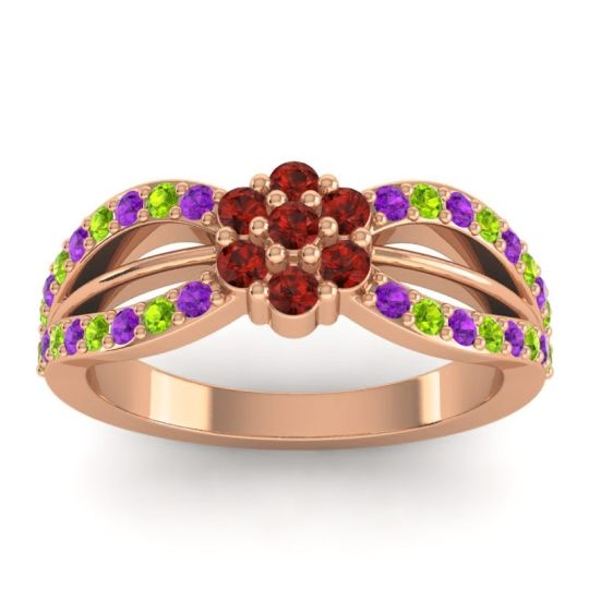 Simple Floral Pave Kalikda Garnet Ring with Peridot and Amethyst in 18K Rose Gold