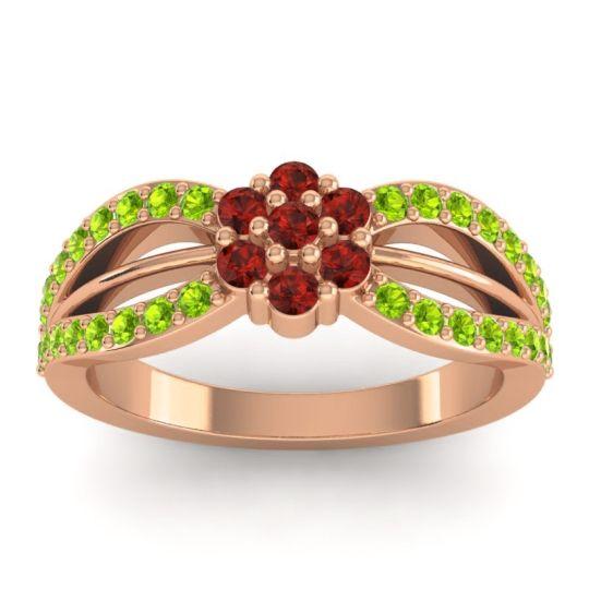 Simple Floral Pave Kalikda Garnet Ring with Peridot in 14K Rose Gold