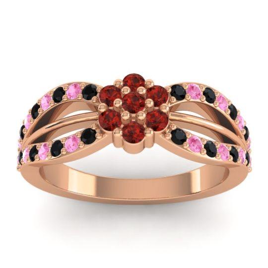 Simple Floral Pave Kalikda Garnet Ring with Pink Tourmaline and Black Onyx in 14K Rose Gold