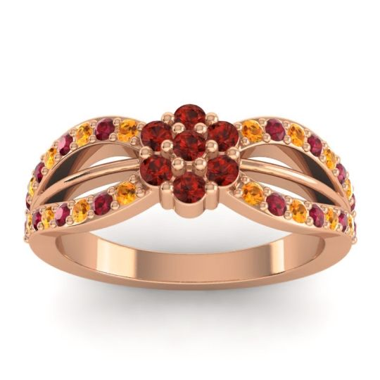 Simple Floral Pave Kalikda Garnet Ring with Ruby and Citrine in 18K Rose Gold