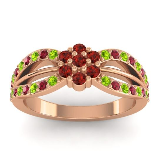 Simple Floral Pave Kalikda Garnet Ring with Ruby and Peridot in 14K Rose Gold