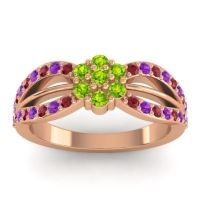 Simple Floral Pave Kalikda Peridot Ring with Amethyst and Ruby in 14K Rose Gold