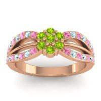 Simple Floral Pave Kalikda Peridot Ring with Aquamarine and Pink Tourmaline in 18K Rose Gold