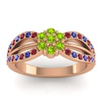Simple Floral Pave Kalikda Peridot Ring with Blue Sapphire and Ruby in 18K Rose Gold