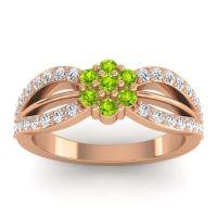 Simple Floral Pave Kalikda Peridot Ring with Diamond in 14K Rose Gold