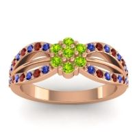 Simple Floral Pave Kalikda Peridot Ring with Garnet and Blue Sapphire in 18K Rose Gold