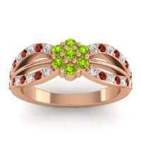 Simple Floral Pave Kalikda Peridot Ring with Garnet and Diamond in 18K Rose Gold