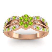 Simple Floral Pave Kalikda Peridot Ring with Diamond in 18K Rose Gold