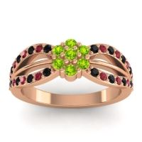 Simple Floral Pave Kalikda Peridot Ring with Ruby and Black Onyx in 18K Rose Gold