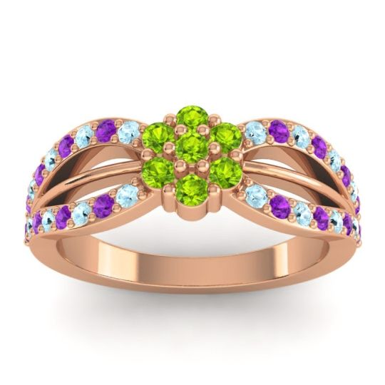 Simple Floral Pave Kalikda Peridot Ring with Amethyst and Aquamarine in 14K Rose Gold