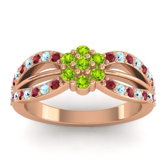 Simple Floral Pave Kalikda Peridot Ring with Aquamarine and Ruby in 18K Rose Gold