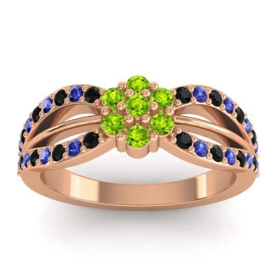 Simple Floral Pave Kalikda Peridot Ring with Blue Sapphire and Black Onyx in 14K Rose Gold