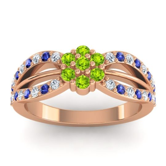 Simple Floral Pave Kalikda Peridot Ring with Blue Sapphire and Diamond in 18K Rose Gold