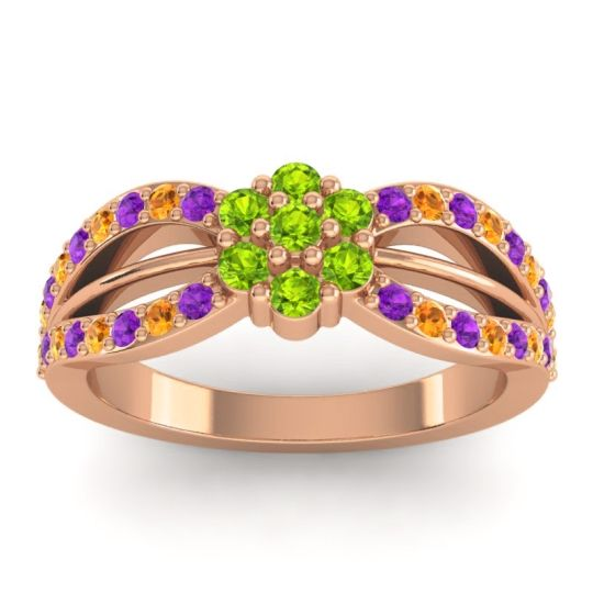 Simple Floral Pave Kalikda Peridot Ring with Citrine and Amethyst in 18K Rose Gold