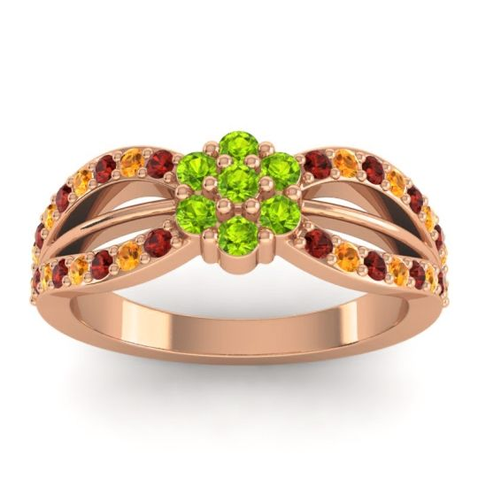 Simple Floral Pave Kalikda Peridot Ring with Citrine and Garnet in 18K Rose Gold