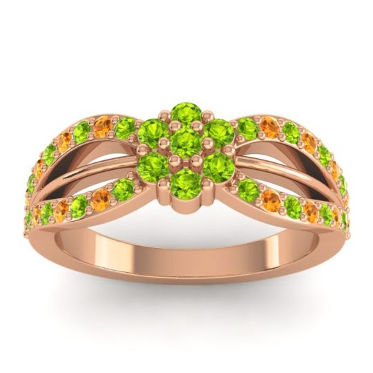Simple Floral Pave Kalikda Peridot Ring with Citrine in 18K Rose Gold