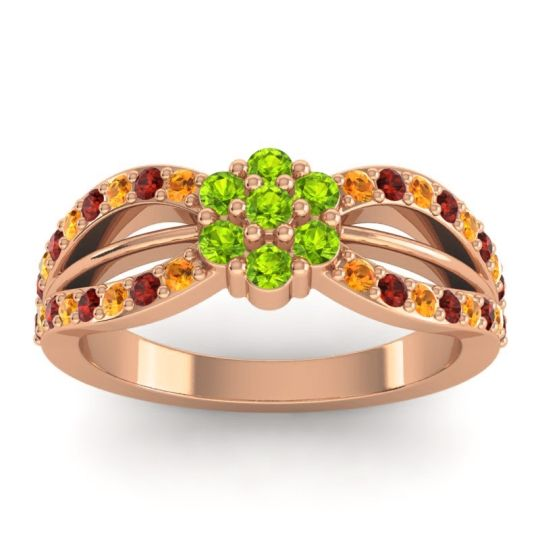 Simple Floral Pave Kalikda Peridot Ring with Garnet and Citrine in 18K Rose Gold