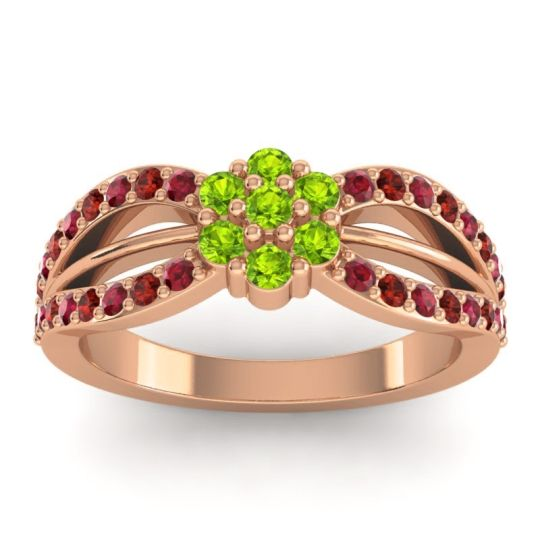 Simple Floral Pave Kalikda Peridot Ring with Garnet and Ruby in 14K Rose Gold