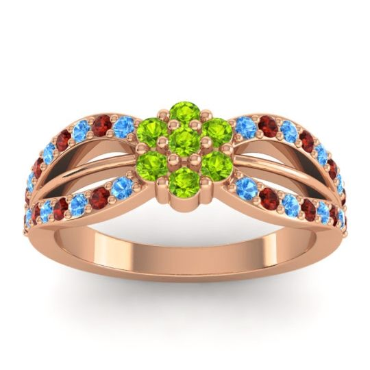 Simple Floral Pave Kalikda Peridot Ring with Garnet and Swiss Blue Topaz in 14K Rose Gold