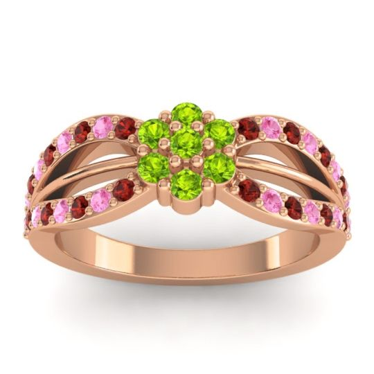 Simple Floral Pave Kalikda Peridot Ring with Pink Tourmaline and Garnet in 18K Rose Gold