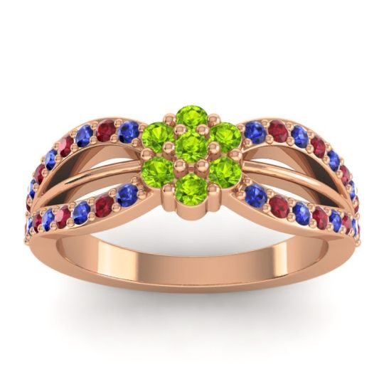 Simple Floral Pave Kalikda Peridot Ring with Ruby and Blue Sapphire in 18K Rose Gold