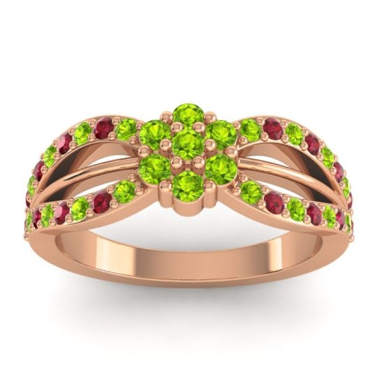 Simple Floral Pave Kalikda Peridot Ring with Ruby in 18K Rose Gold