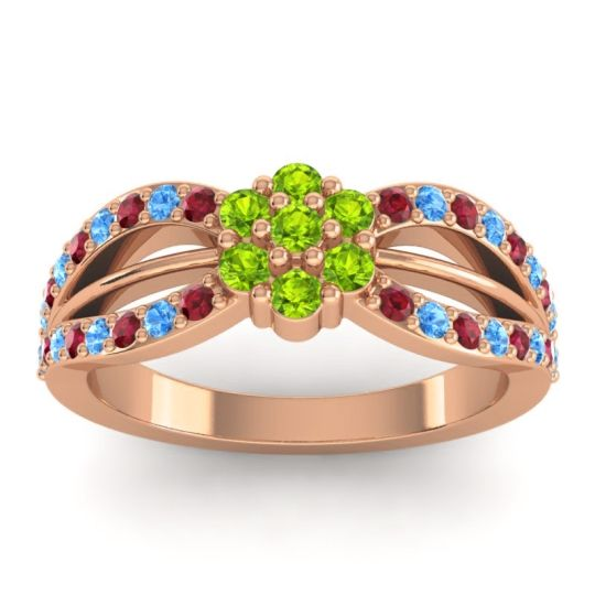 Simple Floral Pave Kalikda Peridot Ring with Swiss Blue Topaz and Ruby in 18K Rose Gold