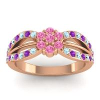 Simple Floral Pave Kalikda Pink Tourmaline Ring with Amethyst and Aquamarine in 14K Rose Gold