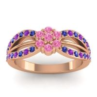 Simple Floral Pave Kalikda Pink Tourmaline Ring with Amethyst and Blue Sapphire in 14K Rose Gold