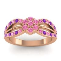 Simple Floral Pave Kalikda Pink Tourmaline Ring with Amethyst in 18K Rose Gold