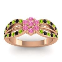Simple Floral Pave Kalikda Pink Tourmaline Ring with Black Onyx and Peridot in 14K Rose Gold