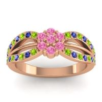 Simple Floral Pave Kalikda Pink Tourmaline Ring with Blue Sapphire and Peridot in 18K Rose Gold