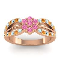 Simple Floral Pave Kalikda Pink Tourmaline Ring with Citrine and Aquamarine in 18K Rose Gold