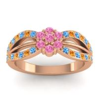 Simple Floral Pave Kalikda Pink Tourmaline Ring with Citrine and Swiss Blue Topaz in 18K Rose Gold